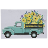 Truck With Flowers Wood Decor