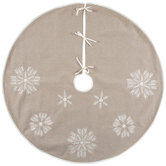 Beige With White Snowflakes Tree Skirt