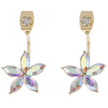 Iridescent Flower Jacket Earrings