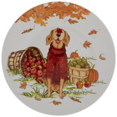 Dog In Red Sweater Autumn Plate
