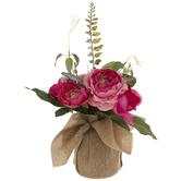 Pink Ranunculus & Anemone Arrangement In Burlap
