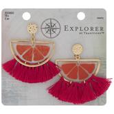 Orange Slice Fringe Tassel Earrings