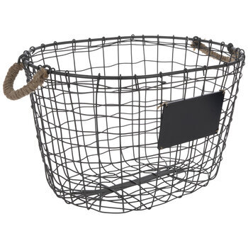 Gray Woven Wire Basket With Chalkboard
