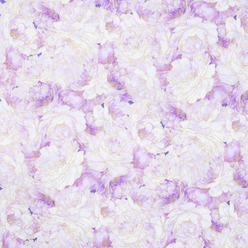 Purple & Gold Floral Cotton Calico Fabric