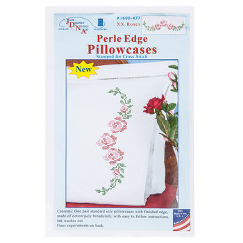XX Roses Perle Edge Cross Stitch Pillowcase Kit