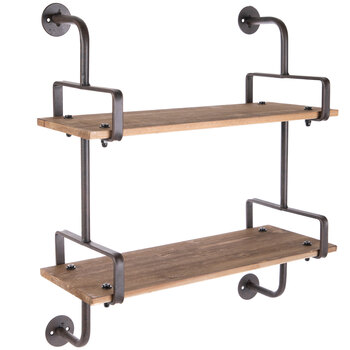 Industrial Planks Wood Wall Shelf