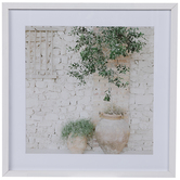 Stone Potted Plants Framed Wood Wall Decor