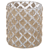 Gold Textured Diamonds Glass Candle Holder