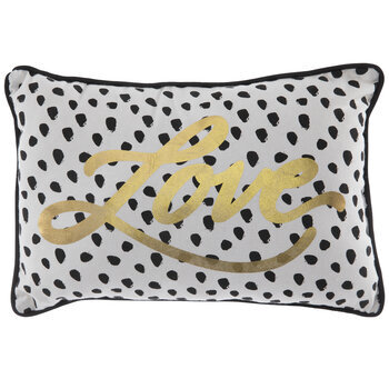 White & Black Polka Dot Love Pillow