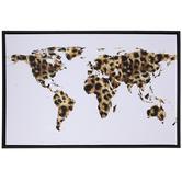 Leopard Print World Map Canvas Wall Decor