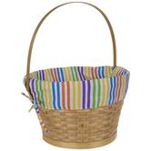 Multi-Color Striped Wood Easter Basket
