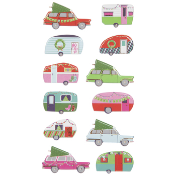 Christmas Tree Campers & Cars Puffy Stickers