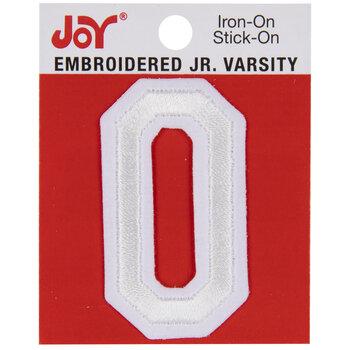 "White Junior Varsity Letter Iron-On Applique O - 2"""