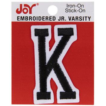 "Black Junior Varsity Letter Iron-On Applique K - 2"""