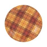 Orange & Brown Plaid Paper Plates