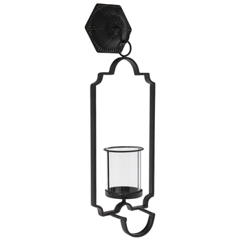 Black Distressed Metal Wall Sconce With Hurricane