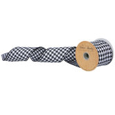 """Black & White Houndstooth Wired Edge Ribbon - 2 1/2"""""""