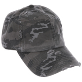 Gray Distressed Camo Baseball Cap