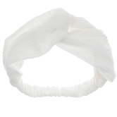 White Knotted Ribbon Elastic Headband
