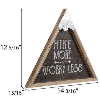 Hike More Worry Less Triangle Wood Wall Decor