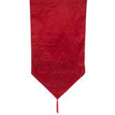 Red Sequin Poinsettia Table Runner