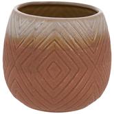 Brown Ombre Geometric Diamond Flower Pot