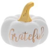 White & Gold Grateful Pumpkin