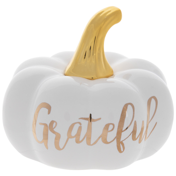 White & Gold Grateful Pumpkin