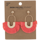 Pink Half-Circle Tassel Earrings