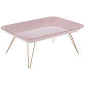 Blush Rectangle Metal Tray With Legs