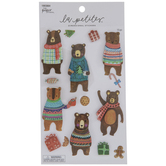 Glitter Christmas Bears 3D Stickers