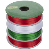 """Red, Green & White Double-Face Satin Ribbon - 1/8"""""""