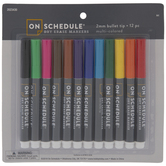 Multi-Color Bullet Tip Dry Erase Markers - 12 Piece Set