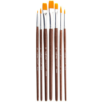 Gold Nylon Paint Brushes - 7 Piece Set