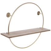 Gold Circle Wood Wall Shelf