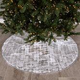 Silver Foil & White White Faux Fur Tree Skirt