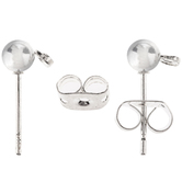Ball Earring Posts With Clutch - 4mm