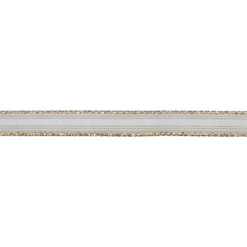 """Gold Striped Wired Edge Sheer Ribbon - 5/8"""""""
