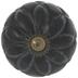 Black Round Carved Wood Knob