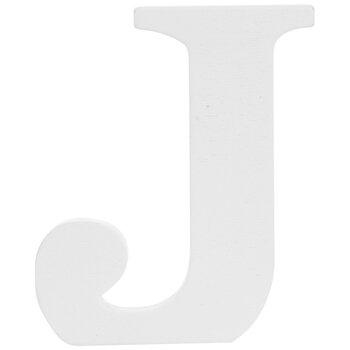 """White Wood Letter J - 3"""""""