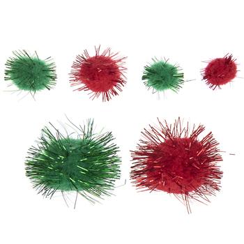 Red & Green Tinsel Pom Poms