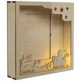 Santa & Sleigh Light Up Wood Frame