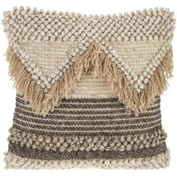Cream Hand Woven Fringe Pillow Cover