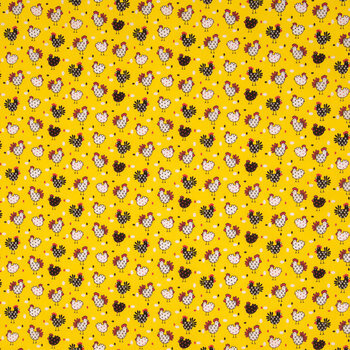 Yellow Chicken Cotton Calico Fabric