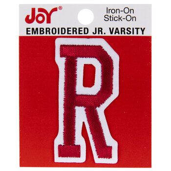 "Red Junior Varsity Letter Iron-On Applique R - 2"""