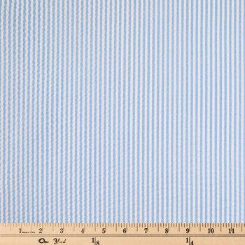 Light Blue & White Seersucker Striped Fabric