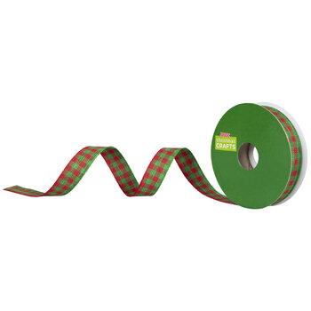 "Red & Green Plaid Ribbon - 5/8"""