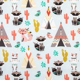 Tribal Fox & Teepee Apparel Fabric