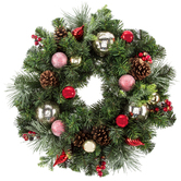 Frosted Wreath With Red & Champagne Ornaments