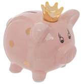 Pink & Gold Polka Dot Piggy Bank With Crown